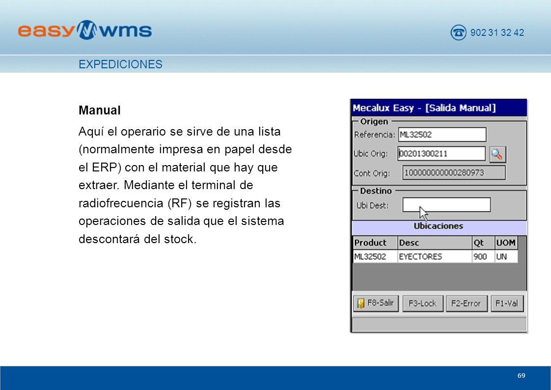 902 31 32 42 69 Manual Aquí el operario se sirve de una lista (normalmente impresa en papel desde el ERP) con el material que hay que extraer. Mediant