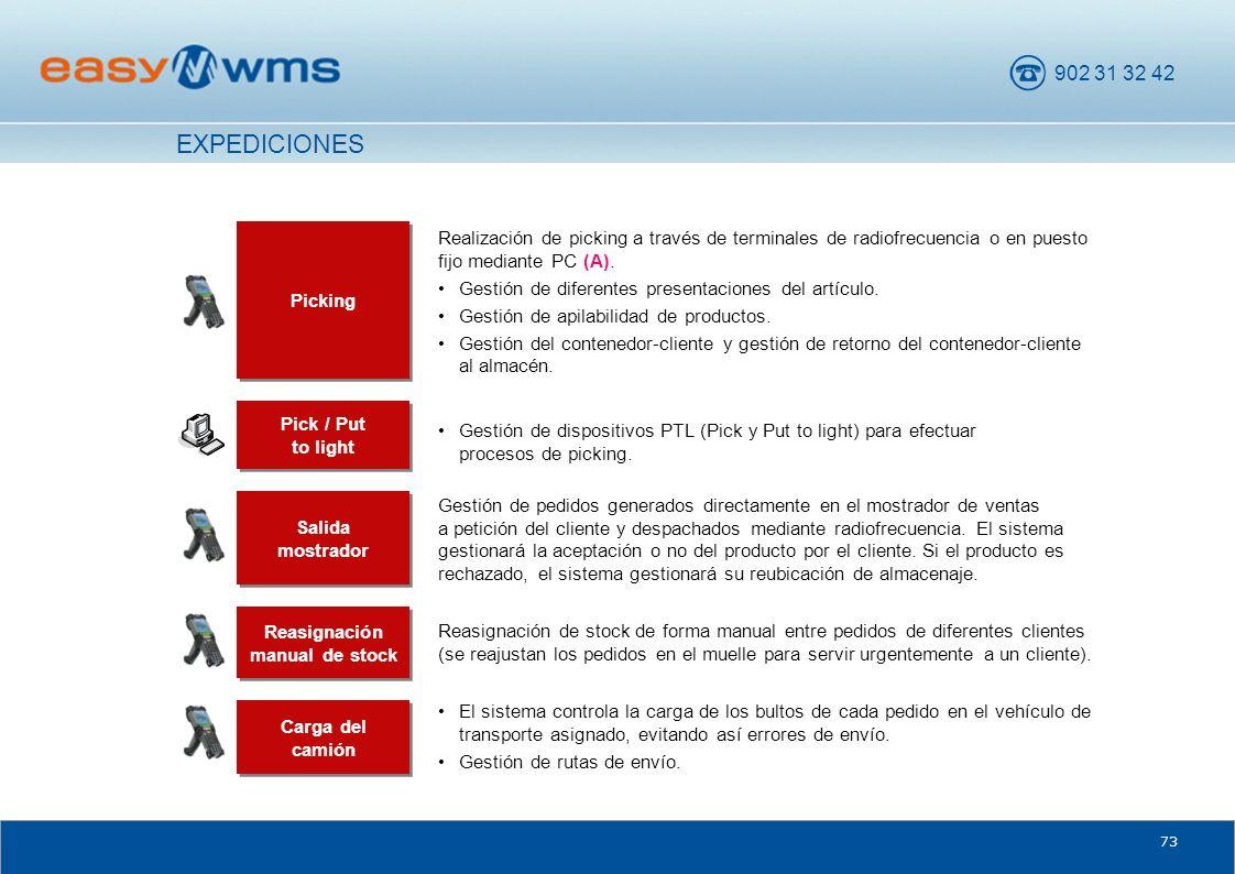 902 31 32 42 73 Salida mostrador Gestión de pedidos generados directamente en el mostrador de ventas a petición del cliente y despachados mediante rad