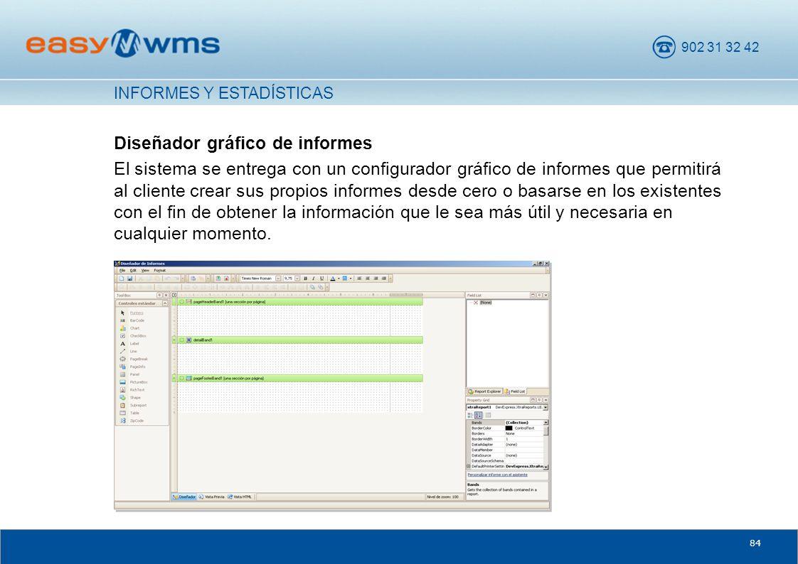 902 31 32 42 84 Diseñador gráfico de informes El sistema se entrega con un configurador gráfico de informes que permitirá al cliente crear sus propios