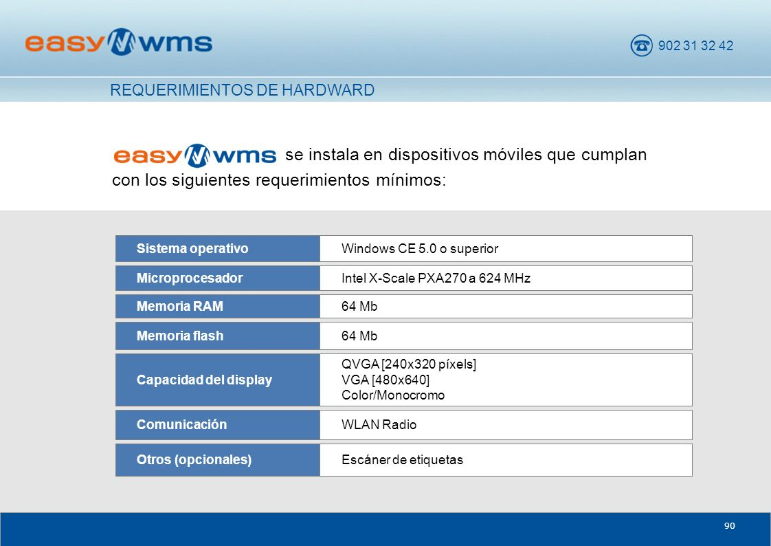 902 31 32 42 90 se instala en dispositivos móviles que cumplan con los siguientes requerimientos mínimos: WLAN RadioComunicación Escáner de etiquetasOtros (opcionales) QVGA [240x320 píxels] VGA [480x640] Color/Monocromo Capacidad del display 64 MbMemoria flash 64 MbMemoria RAM Intel X-Scale PXA270 a 624 MHzMicroprocesador Windows CE 5.0 o superiorSistema operativo REQUERIMIENTOS DE HARDWARD