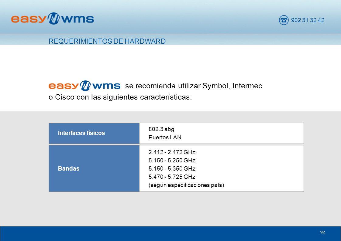 902 31 32 42 92 se recomienda utilizar Symbol, Intermec o Cisco con las siguientes características: 2.412 - 2.472 GHz; 5.150 - 5.250 GHz; 5.150 - 5.35