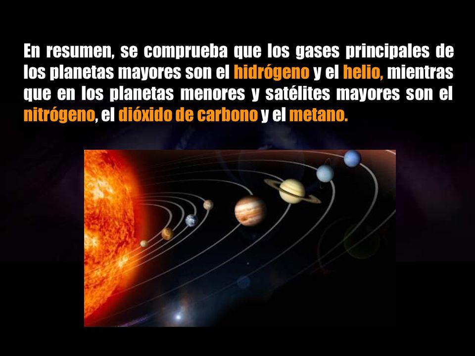 En los planetas mayores del Sistema Solar, Júpiter, Saturno, Urano y Neptuno, la atmósferas están formadas de hidrógeno, hidrocarburos (principalmente metano), nitrógeno y otras sustancias en menor cantidad.