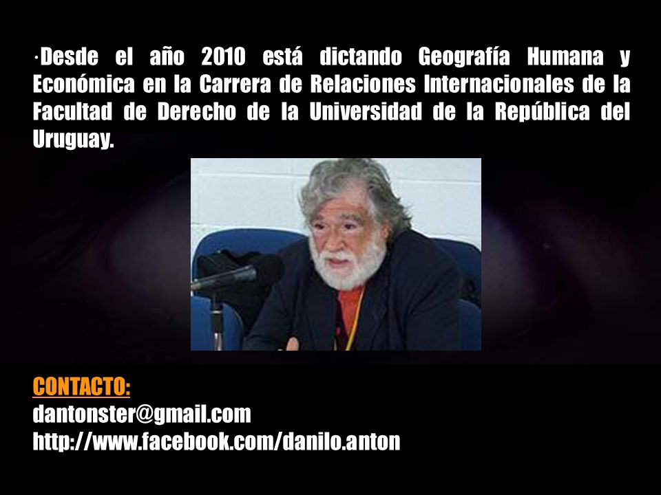 ·Durante el período 2008-2012 ha dictado o está dictando clases en el IPA en las asignaturas Geología, Geografía de los Países Desarrollados y Geograf