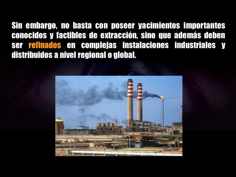La disponibilidad de recursos hidrocarbonosos depende de muchos factores. Una condición básica es la existencia de yacimientos geológicos apropiados d