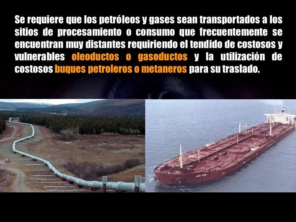 Sin embargo, no basta con poseer yacimientos importantes conocidos y factibles de extracción, sino que además deben ser refinados en complejas instala