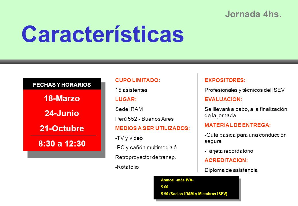 Características Jornada 4hs.