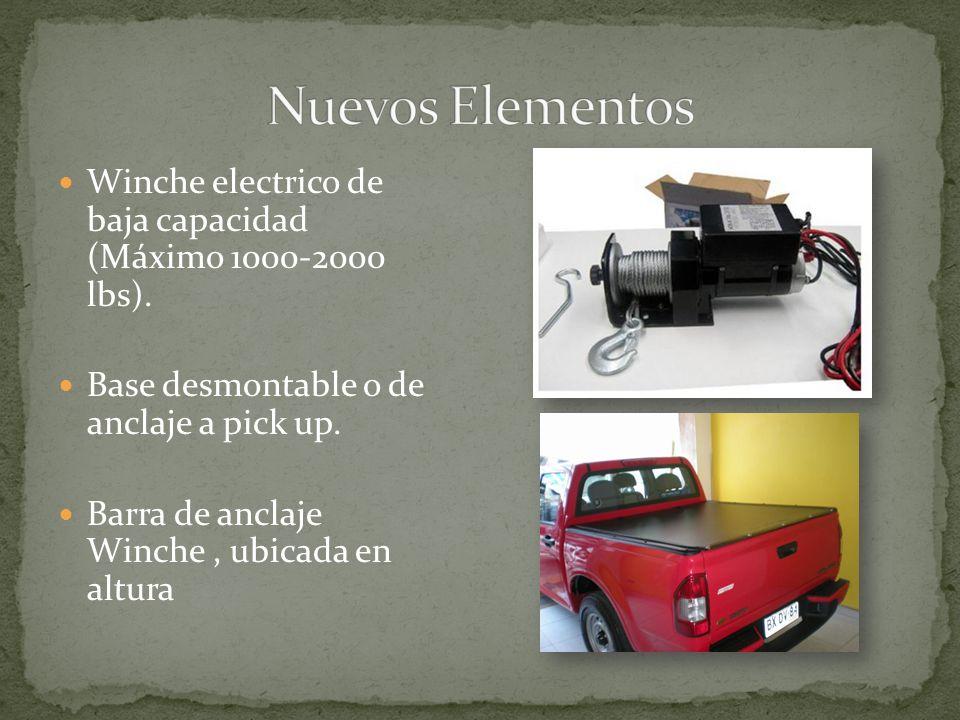 Winche electrico de baja capacidad (Máximo 1000-2000 lbs). Base desmontable o de anclaje a pick up. Barra de anclaje Winche, ubicada en altura