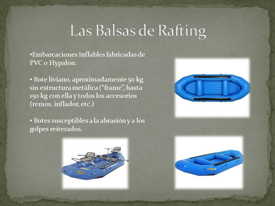 Embarcaciones Inflables fabricadas de PVC o Hypalon. Bote liviano, aproximadamente 50 kg sin estructura metálica (frame, hasta 150 kg con ella y todos