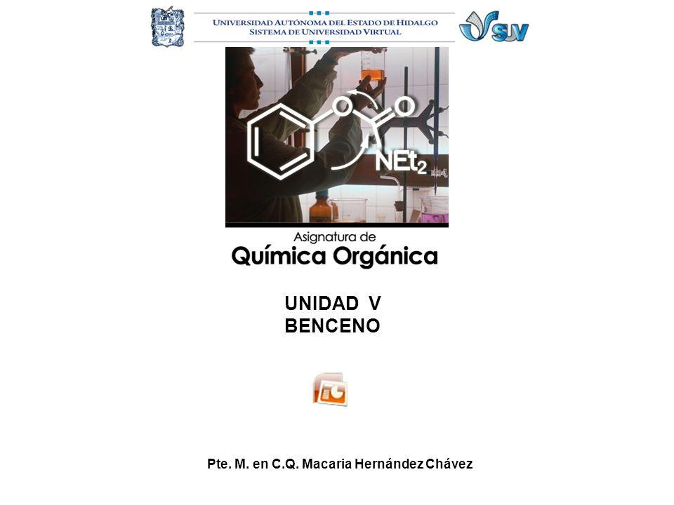 UNIDAD V BENCENO Nomenclatura de halogenuros de alquilo Pte. M. en C.Q. Macaria Hernández Chávez