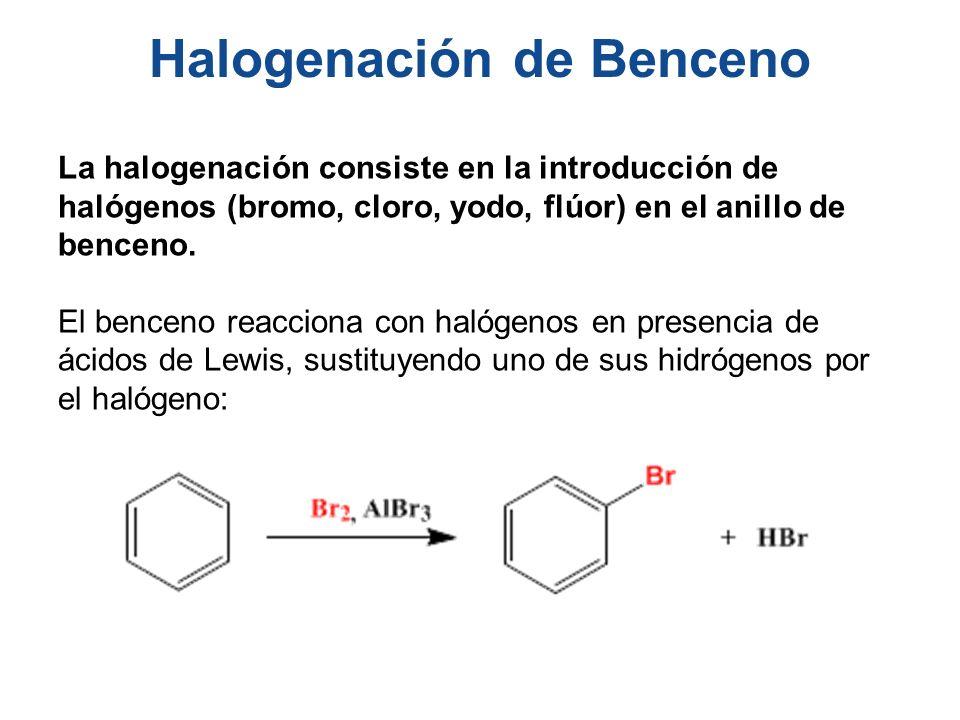 Halogenación de Benceno La halogenación consiste en la introducción de halógenos (bromo, cloro, yodo, flúor) en el anillo de benceno. El benceno reacc