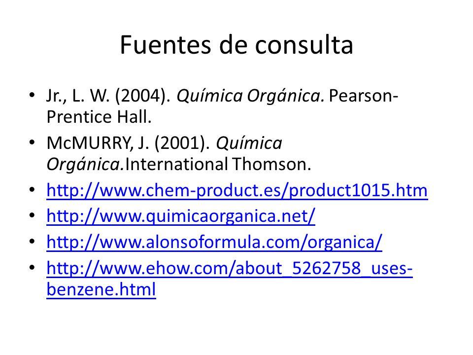 Fuentes de consulta Jr., L. W. (2004). Química Orgánica. Pearson- Prentice Hall. McMURRY, J. (2001). Química Orgánica.International Thomson. http://ww