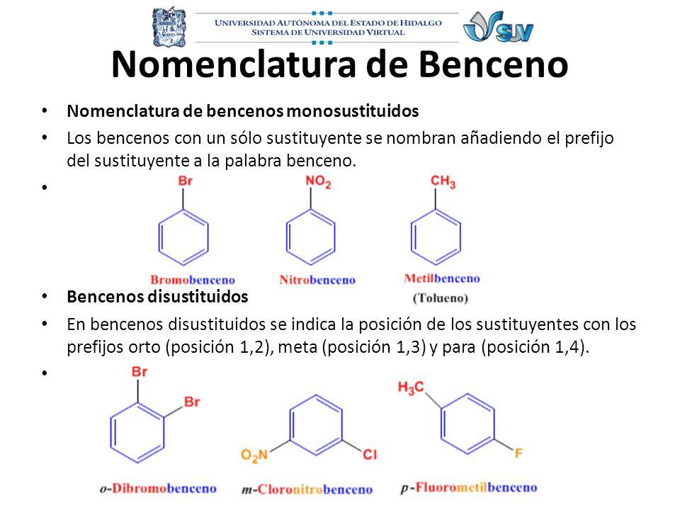 Nomenclatura de Benceno Nomenclatura de bencenos monosustituidos Los bencenos con un sólo sustituyente se nombran añadiendo el prefijo del sustituyent