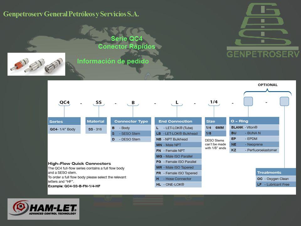 Genpetroserv General Petróleos y Servicios S.A. Información de pedido Serie QC4 Conector Rápidos