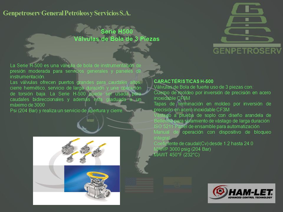 Serie H500 Válvulas de Bola de 3 Piezas Genpetroserv General Petróleos y Servicios S.A.