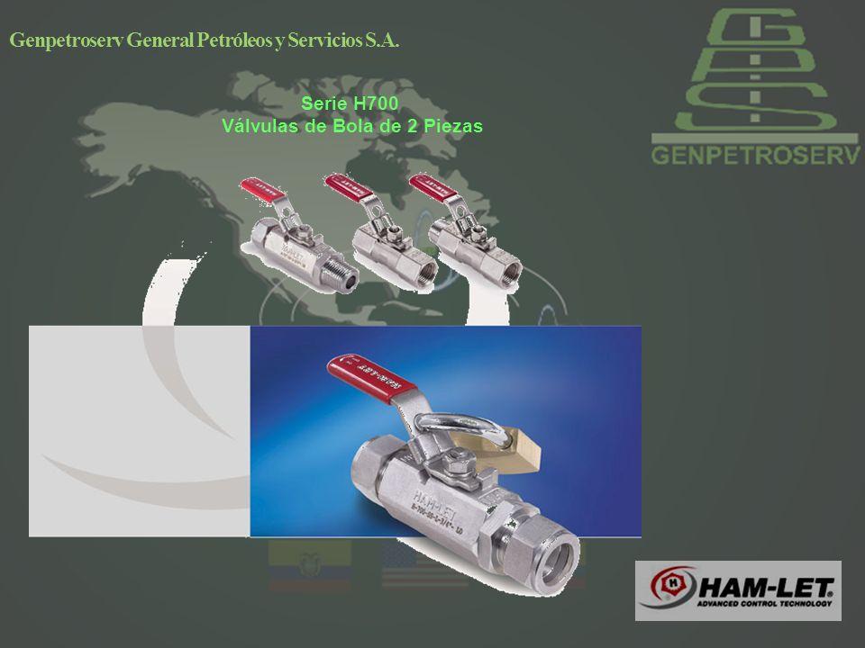 Genpetroserv General Petróleos y Servicios S.A. Serie H700 Válvulas de Bola de 2 Piezas