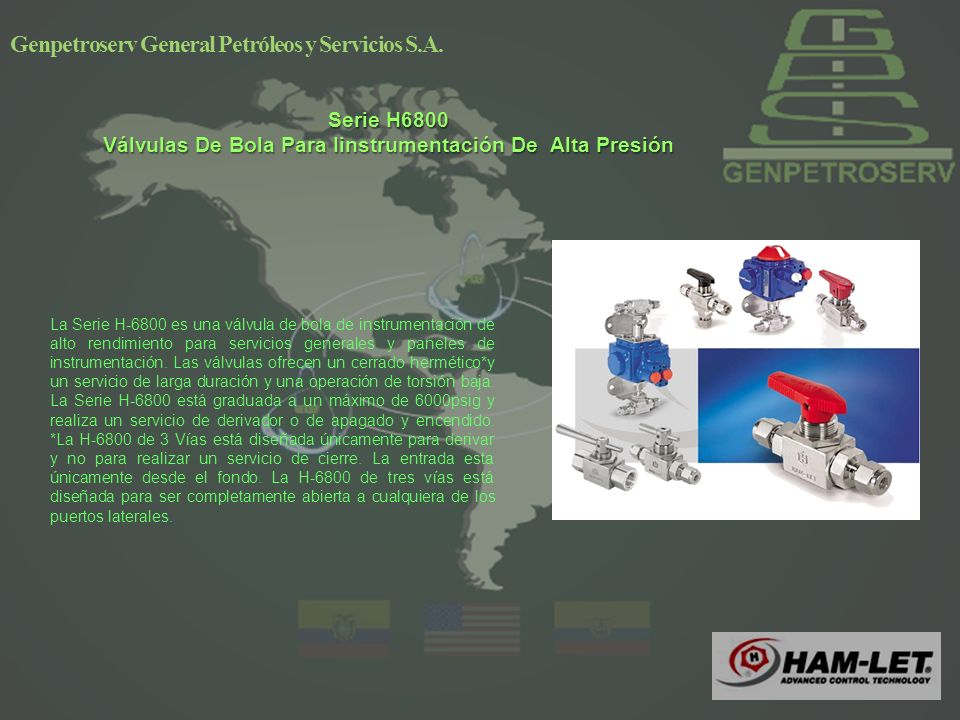 Genpetroserv General Petróleos y Servicios S.A. Serie H911 Válvulas Industriales De Exceso De Flujo