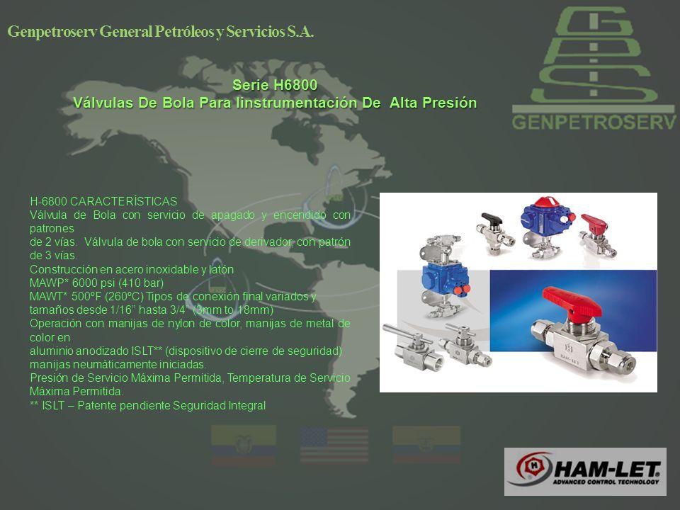 4 Serie H6800 Válvulas De Bola Para Iinstrumentación De Alta Presión Genpetroserv General Petróleos y Servicios S.A.
