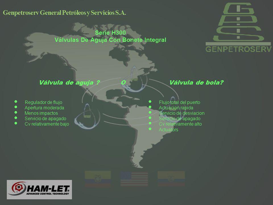 Genpetroserv General Petróleos y Servicios S.A.Válvula de aguja ?OVálvula de bola.