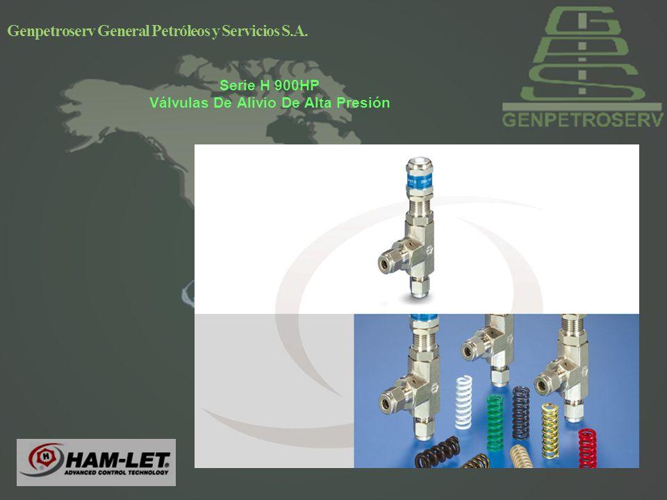 Genpetroserv General Petróleos y Servicios S.A. Serie H 900HP Válvulas De Alivio De Alta Presión