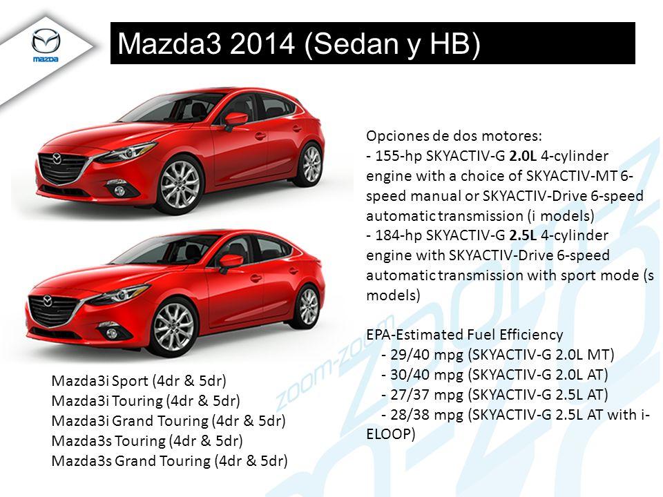 Mazda3 2014 (Sedan y HB) Mazda3i Sport (4dr & 5dr) Mazda3i Touring (4dr & 5dr) Mazda3i Grand Touring (4dr & 5dr) Mazda3s Touring (4dr & 5dr) Mazda3s G