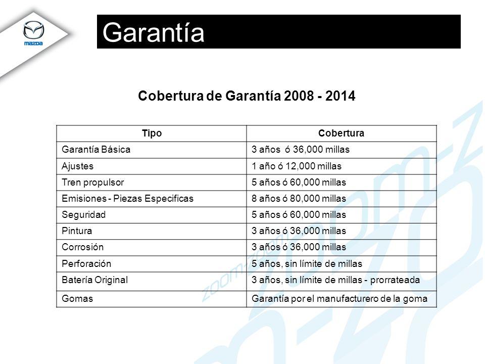 Garantía Cobertura de Garantía 2008 - 2014 TipoCobertura Garantía Básica3 años ó 36,000 millas Ajustes1 año ó 12,000 millas Tren propulsor5 años ó 60,