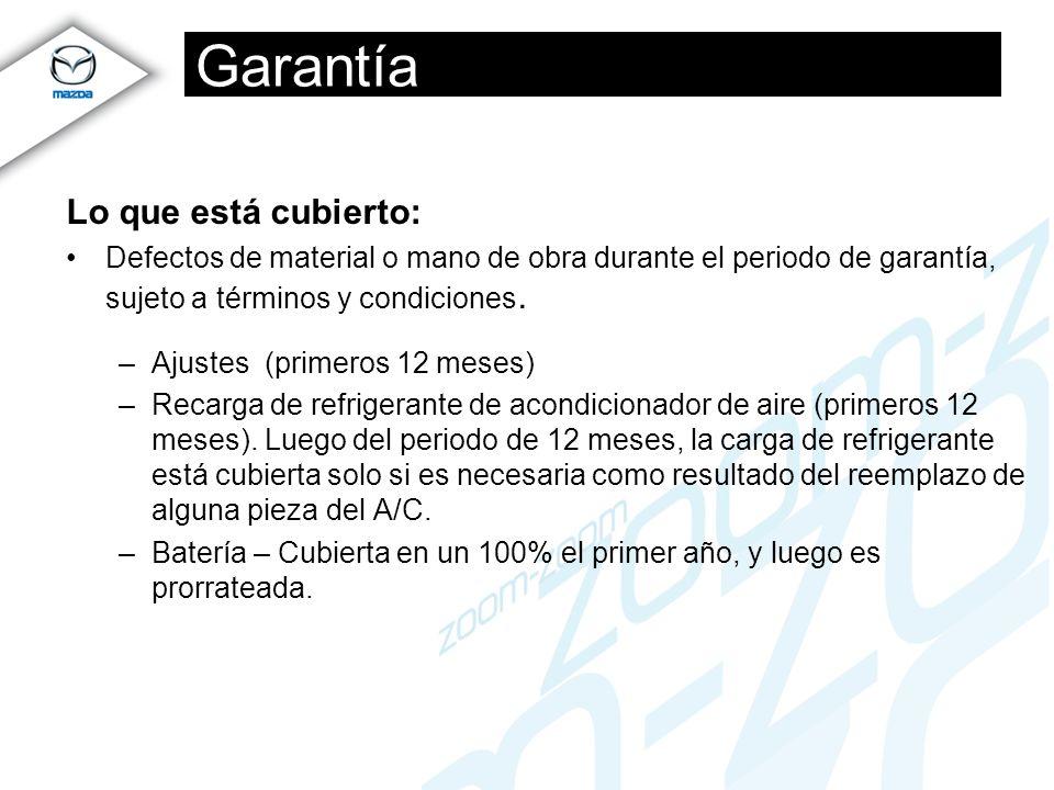 Garantía Lo que está cubierto: Defectos de material o mano de obra durante el periodo de garantía, sujeto a términos y condiciones. –Ajustes (primeros
