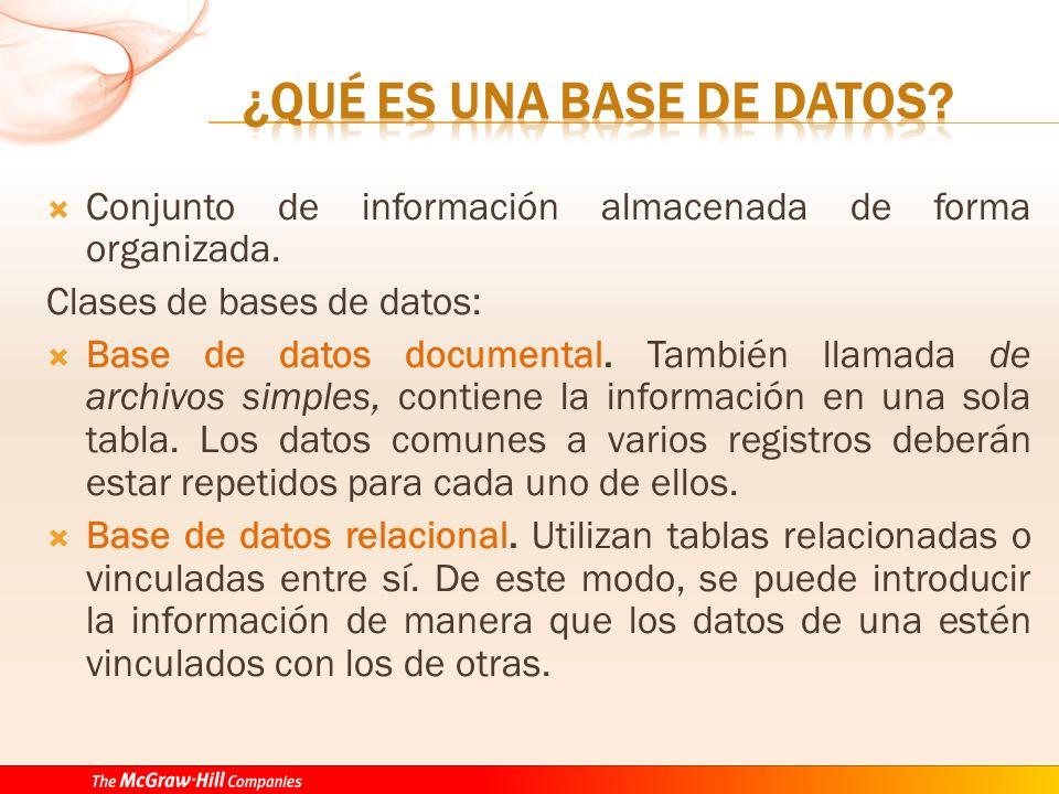Conjunto de información almacenada de forma organizada. Clases de bases de datos: Base de datos documental. También llamada de archivos simples, conti