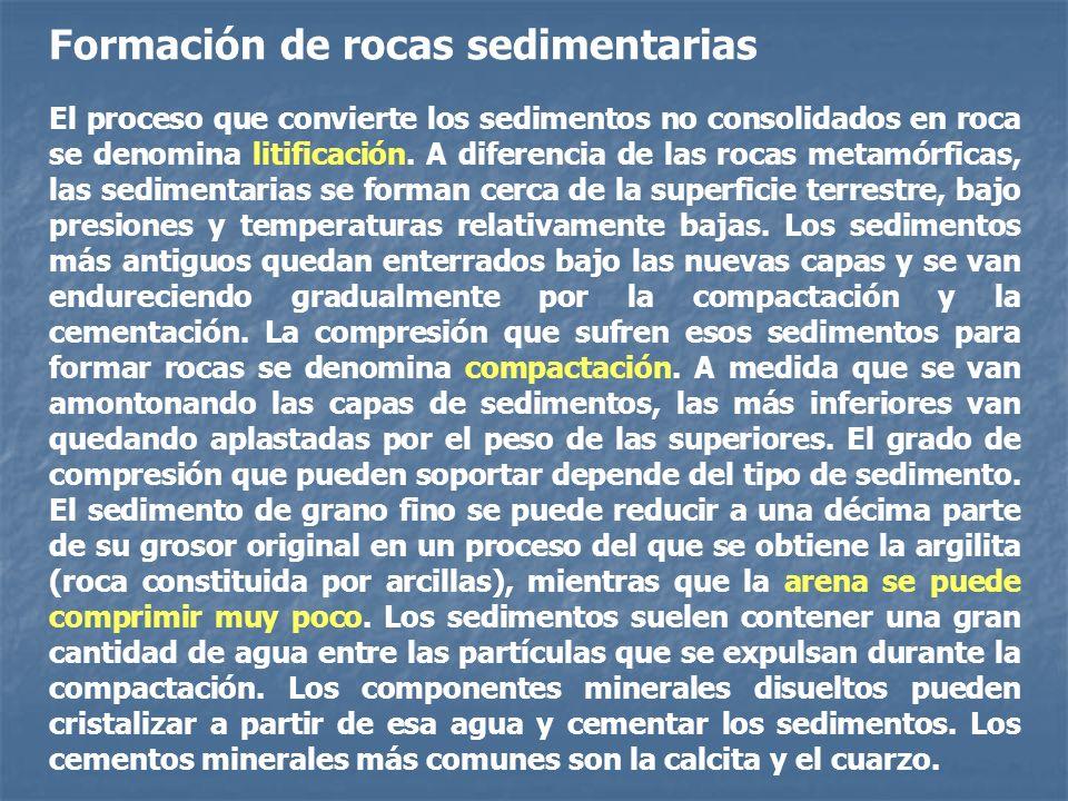 Formación de rocas sedimentarias El proceso que convierte los sedimentos no consolidados en roca se denomina litificación. A diferencia de las rocas m