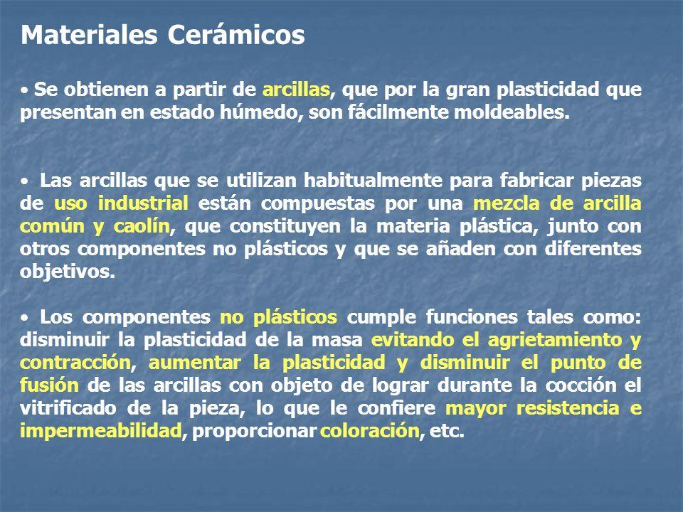 Materiales Cerámicos Se obtienen a partir de arcillas, que por la gran plasticidad que presentan en estado húmedo, son fácilmente moldeables. Las arci