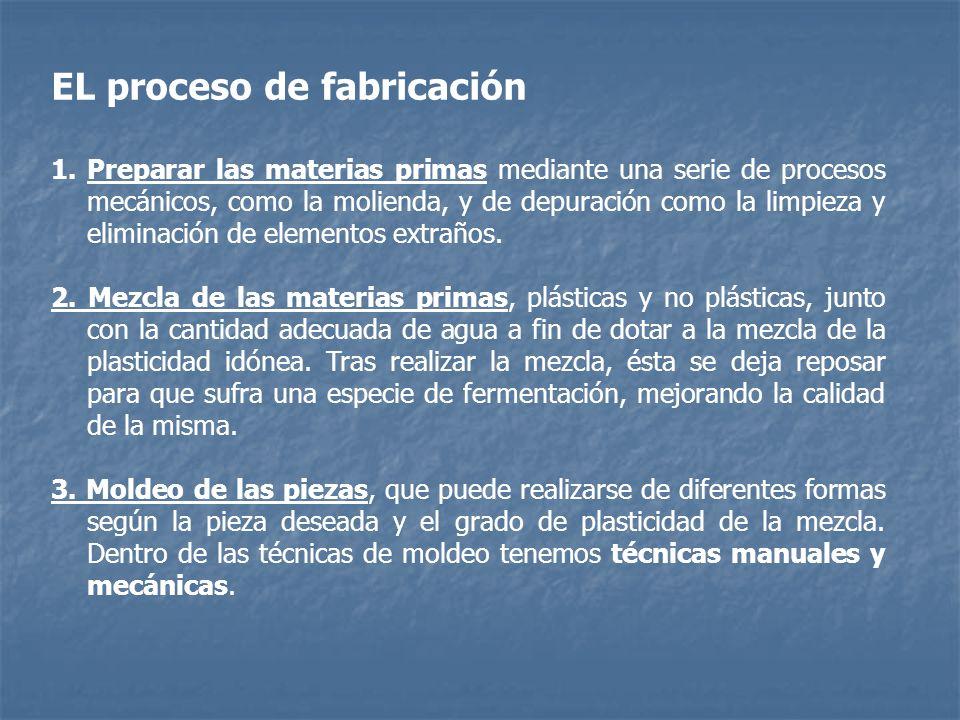 EL proceso de fabricación 1.Preparar las materias primas mediante una serie de procesos mecánicos, como la molienda, y de depuración como la limpieza
