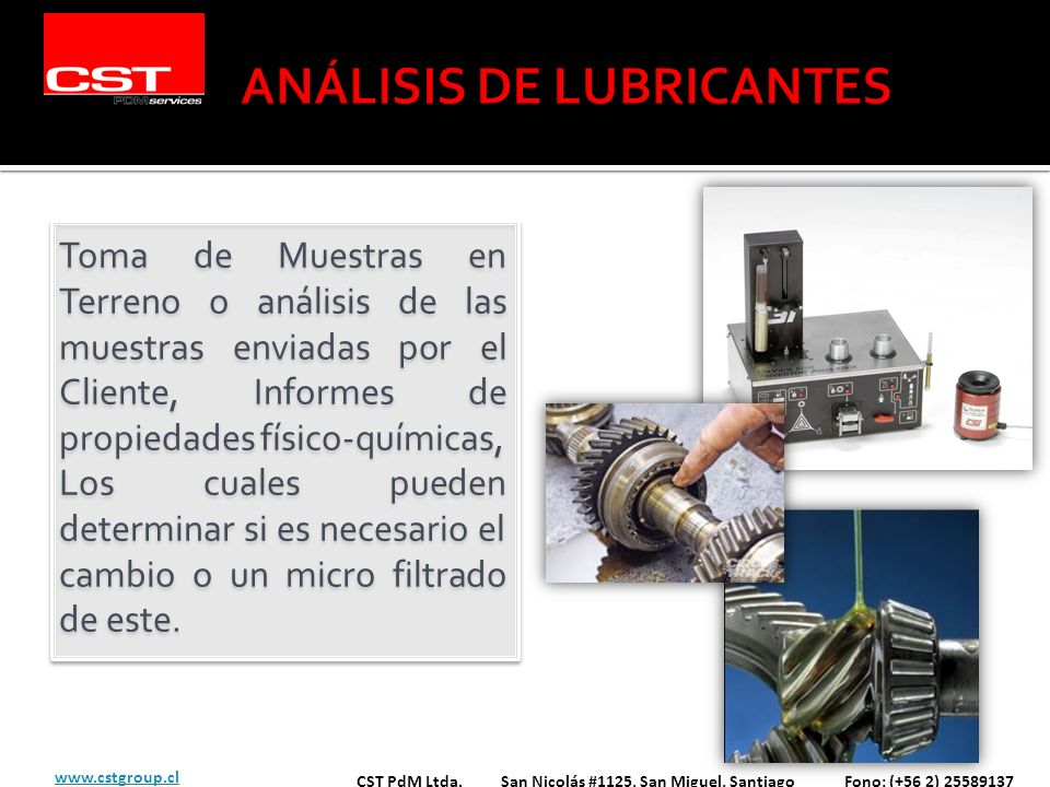 Toma de Muestras en Terreno o análisis de las muestras enviadas por el Cliente, Informes de propiedades físico-químicas, Los cuales pueden determinar