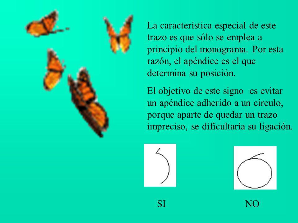 La característica especial de este trazo es que sólo se emplea a principio del monograma.