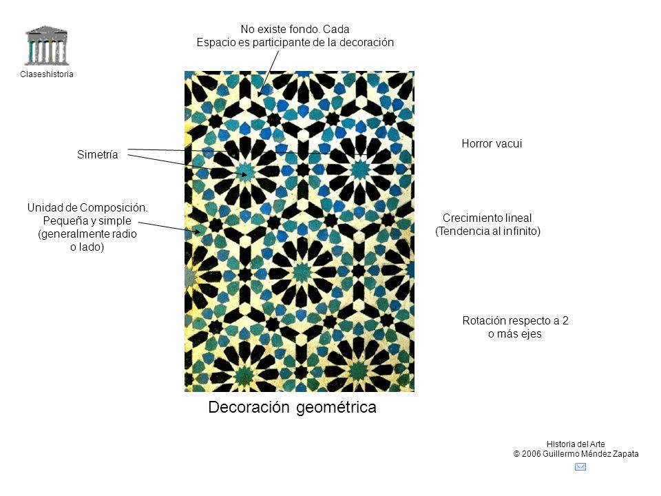Claseshistoria Historia del Arte © 2006 Guillermo Méndez Zapata Decoración geométrica Simetría Unidad de Composición. Pequeña y simple (generalmente r