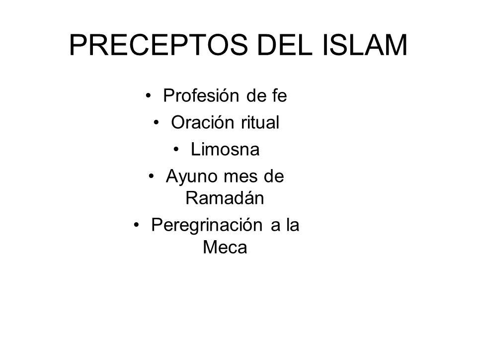PRECEPTOS DEL ISLAM Profesión de fe Oración ritual Limosna Ayuno mes de Ramadán Peregrinación a la Meca