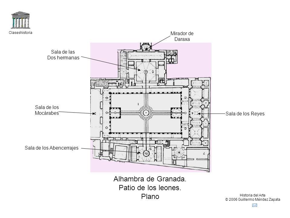 Claseshistoria Historia del Arte © 2006 Guillermo Méndez Zapata Alhambra de Granada. Patio de los leones. Plano Sala de los Abencerrajes Sala de las D
