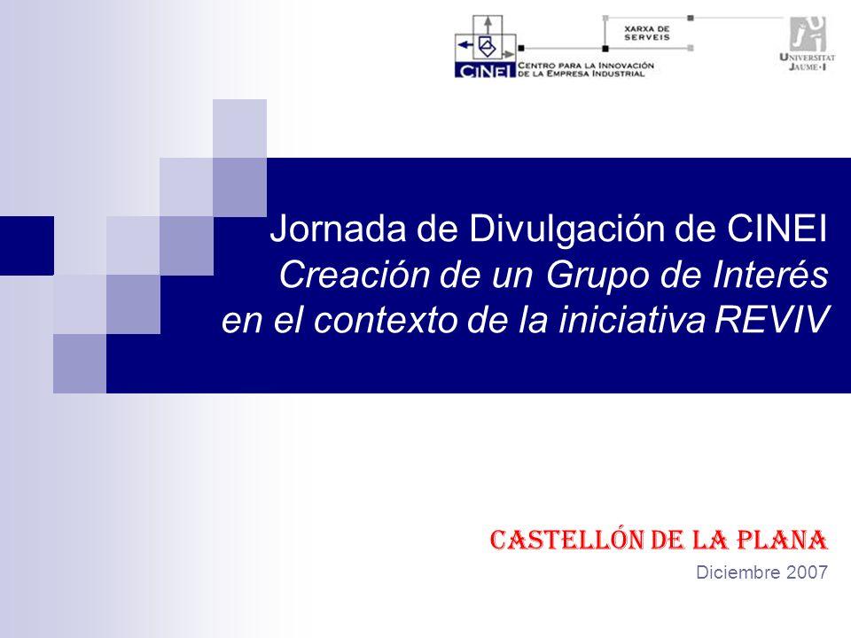 Jornada de Divulgación de CINEI Creación de un Grupo de Interés en el contexto de la iniciativa REVIV Castellón de la Plana Diciembre 2007