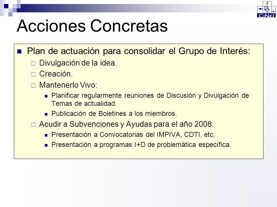 Acciones Concretas Plan de actuación para consolidar el Grupo de Interés: Divulgación de la idea. Creación. Mantenerlo Vivo: Planificar regularmente r