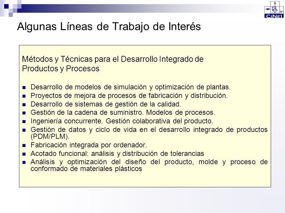 Algunas Líneas de Trabajo de Interés Métodos y Técnicas para el Desarrollo Integrado de Productos y Procesos Desarrollo de modelos de simulación y opt
