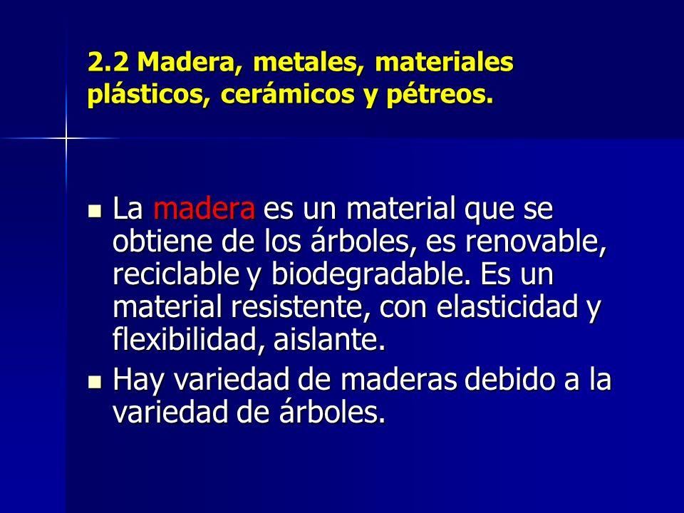 2.2 Madera, metales, materiales plásticos, cerámicos y pétreos.