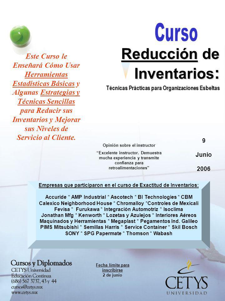 9 Junio 2006 Reducción de Inventarios : Técnicas Prácticas para Organizaciones Esbeltas ¿Quiénes de la Empresa deben Participar.