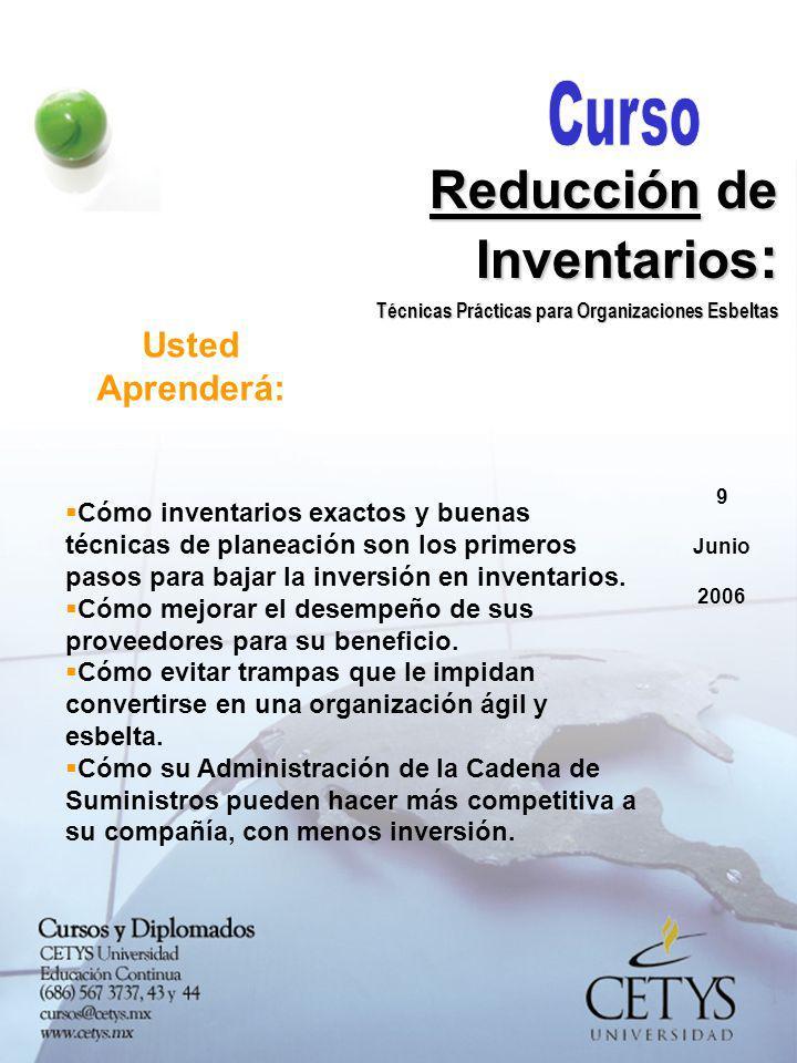 9 Junio 2006 Reducción de Inventarios : Técnicas Prácticas para Organizaciones Esbeltas Tendrá una lista completa de técnicas simples a implementar para reducir su inversión en inventarios.