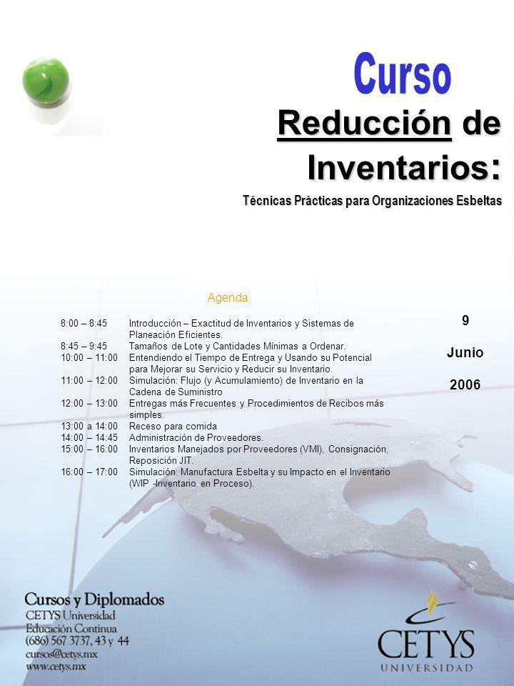 9 Junio 2006 Reducción de Inventarios : Técnicas Prácticas para Organizaciones Esbeltas Agenda 8:00 – 8:45Introducción – Exactitud de Inventarios y Si