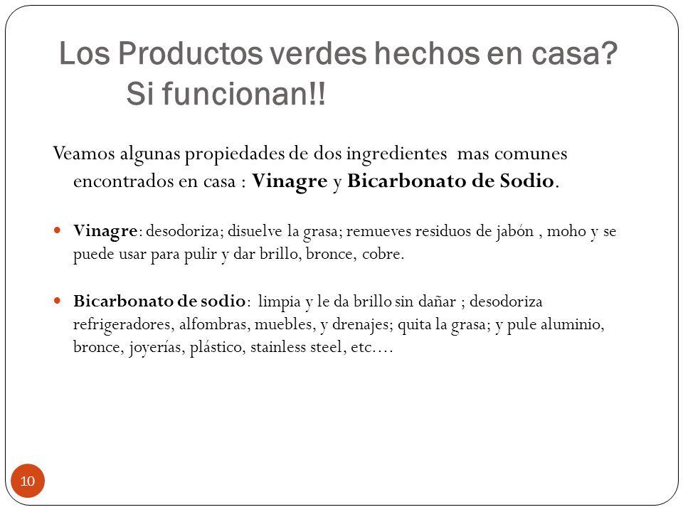 Los Productos verdes hechos en casa? Si funcionan!! 10 Veamos algunas propiedades de dos ingredientes mas comunes encontrados en casa : Vinagre y Bica