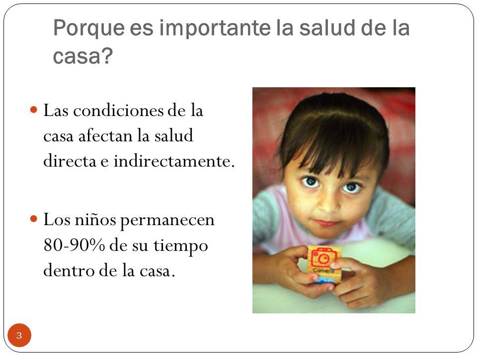 Porque es importante la salud de la casa? Las condiciones de la casa afectan la salud directa e indirectamente. Los niños permanecen 80-90% de su tiem