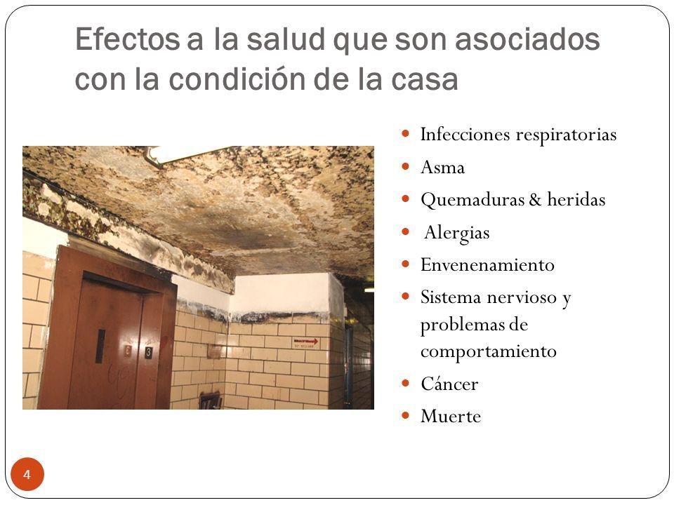Efectos a la salud que son asociados con la condición de la casa Infecciones respiratorias Asma Quemaduras & heridas Alergias Envenenamiento Sistema n