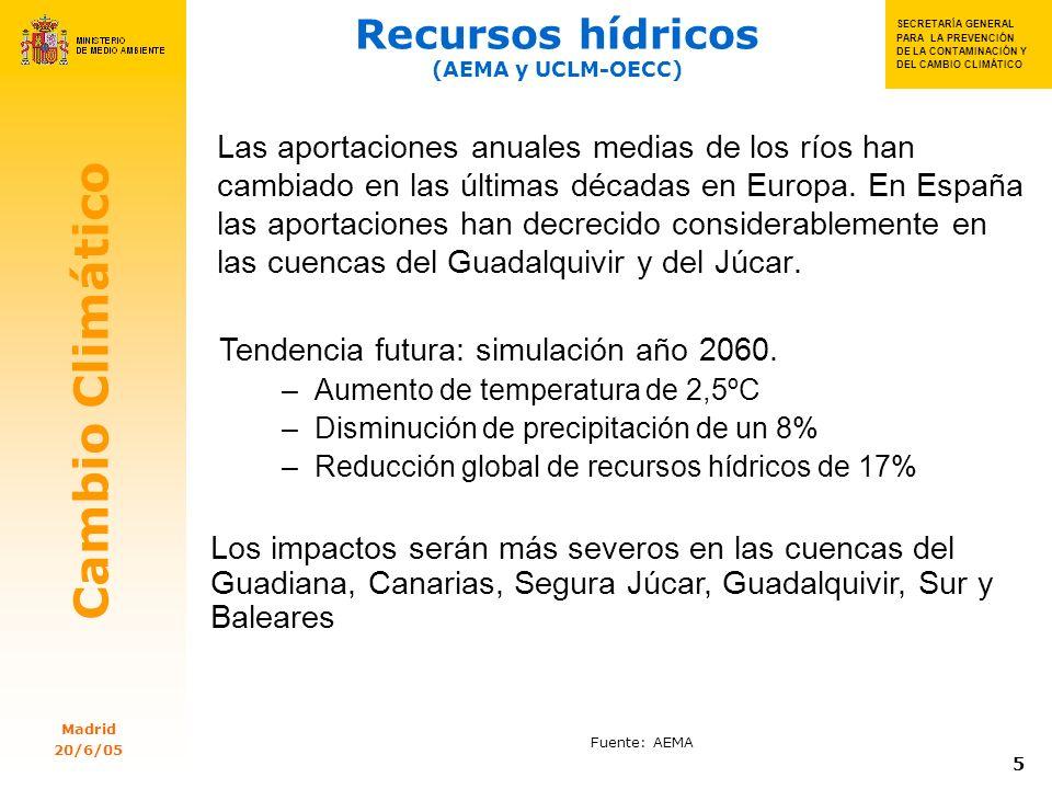 SECRETARIA GENERAL PARA SECRETA RÍA GENERAL PARA LA PREVENC IÓN DE LA CONTAMI NACIÓN Y DEL CAMBIO CLIMÁTIC OSSSS S SECRETARÍA GENERAL PARA LA PREVENCIÓN DE LA CONTAMINACIÓN Y DEL CAMBIO CLIMÁTICO Cambio Climático Madrid 20/6/05 16 PNA 2005-2007: emisiones CO 2 sectores Directiva en España