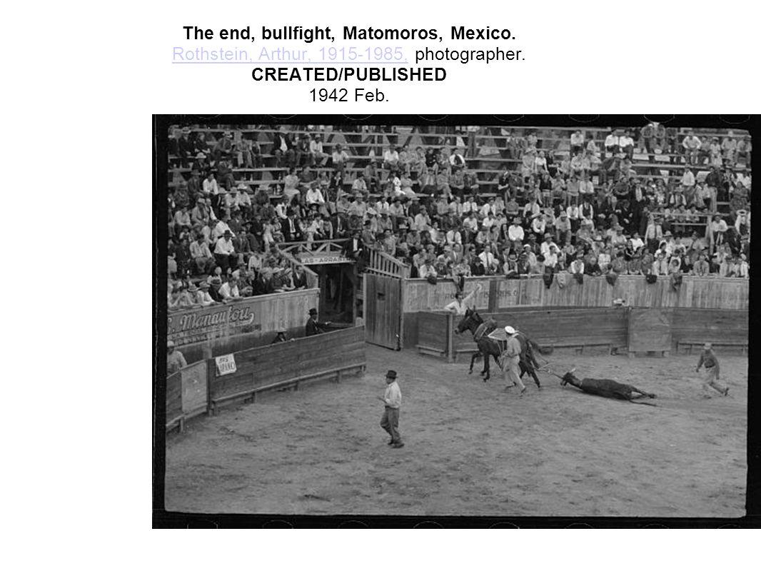 A picador, bullfight, Matomoros, Mexico.Rothstein, Arthur, 1915-1985, photographer.