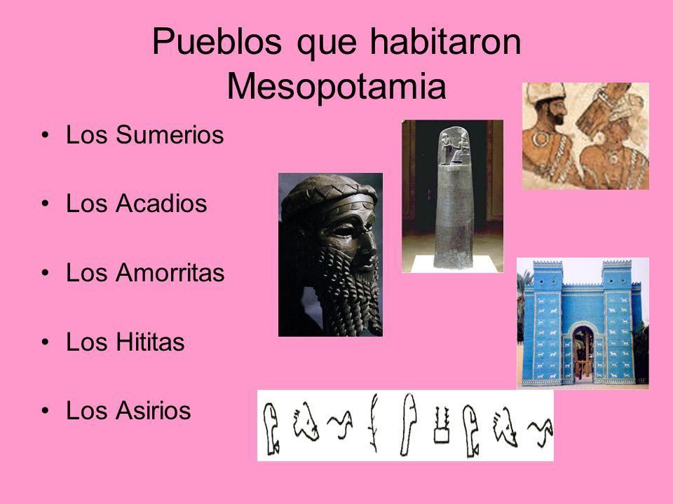 Pueblos que habitaron Mesopotamia Los Sumerios Los Acadios Los Amorritas Los Hititas Los Asirios