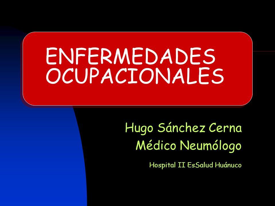 ENFERMEDADES OCUPACIONALES Hugo Sánchez Cerna Médico Neumólogo Hospital II EsSalud Huánuco
