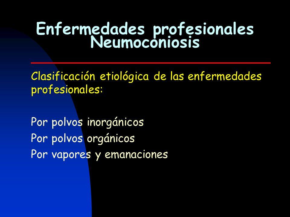 Clasificación etiológica de las enfermedades profesionales: Por polvos inorgánicos Por polvos orgánicos Por vapores y emanaciones Enfermedades profesi